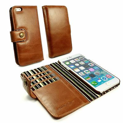 Alston Craig Personalised Vintage Leather Wallet Case for iPhone 6/6s Plus-Brown