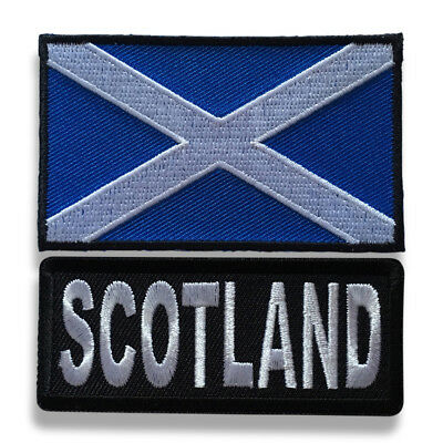 "Embroidered 3"" Scotland With Scotland Flag Sew or Iron on Patch Biker Patch Set"