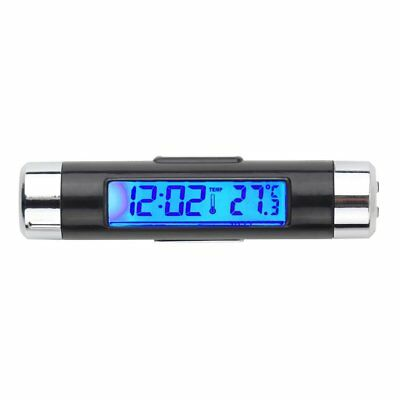 Car Mini Clip-on LCD Digital Backlight Automotive Thermometer Clock Accessories