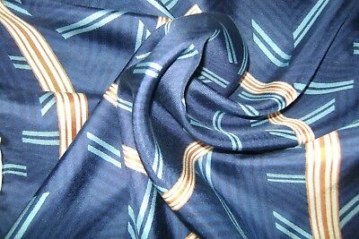 """Hand made Macclesfield silk pocket square 18"""" hand rolled blue and gold"""