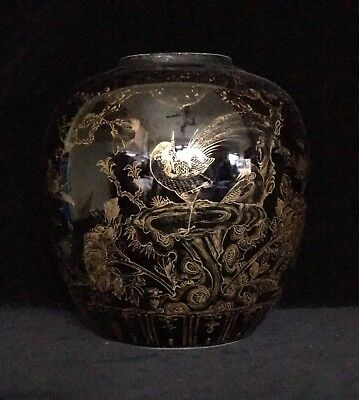 Gilded & Mirror Black Ginger Jar, Kangxi Reign Mark (1662-1722), Chinese Vase ⚜️