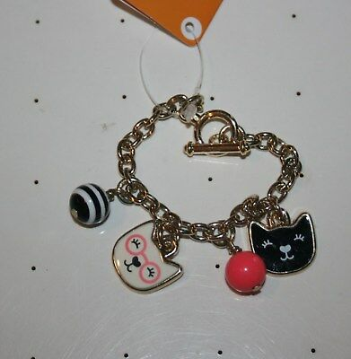 New Gymboree Metallic Gold Kitty in Pink Cat Kitty Face Bead Girls Bracelet NWT
