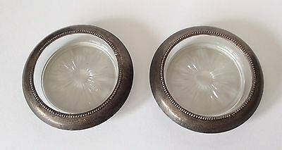 Beautiful!!! Set Of 2 FRANK M WHITING & CO. Sterling Silver And Crystal Coasters