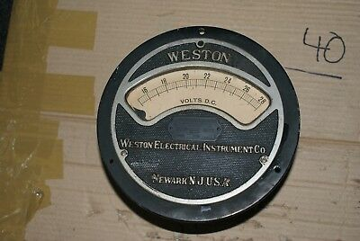 LARGE CAST  Vintage INDUSTRIAL WESTON  VOLT METER, Gauge, Retro, Steam Punk USA