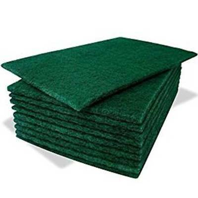 Pack of 10 Heavy Duty Professional Green Scourer Pads (6'' x 9'')