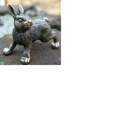 Solid Bronze Hare Miniature by N.Fedosov.