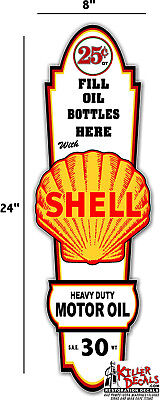"24"" X 8"" Shell GASOLINE LUBSTER FRONT DECAL LUBESTER OIL CAN / GAS PUMP"