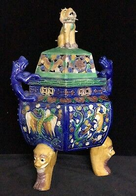 PORCELAIN CENSER KANGXI STYLE MARK ANTIQUE CHINESE– Foo Dog Dragons, late 19th C
