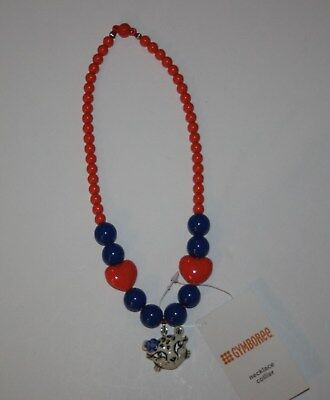 New Gymboree Outlet Blue Coral/Orange Heart Beaded Cheetah Necklace One Size NWT