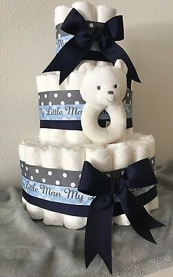 3 Tier Diaper Cake Navy Blue/Gray Boy Baby Shower Centerpiece 72 Diapers Size 1