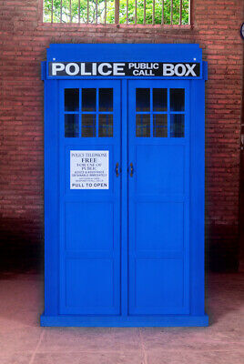 Blue English Police Call Box Doctor Dr. Who Tardis Phone Booth Full Size KD