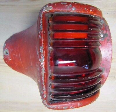 Old Nautical Ship Boat Lamp Red Lense Thick Copper Bronze pivot hd light cover