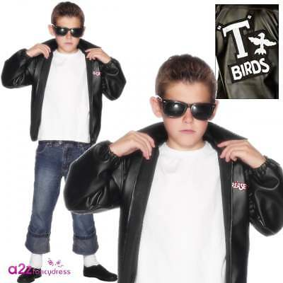 Boys Grease T-Birds Jacket Childs T Bird 50's Official Fancy Dress Costume Danny