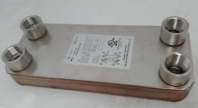 """Water to Water Brazed Plate 20 Plate w/1"""" FPT Ports"""