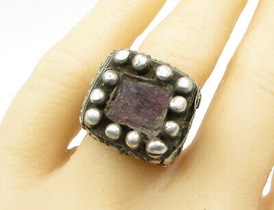 925 Sterling Silver - Vintage Antique Stone Chunky Medieval Ring Sz 9 - R1324