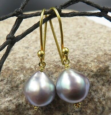 GORGEOUS 18K GOLD AAA SEA OF CORTEZ 9.7-10mm RAINBOW CULTURED PEARL EARRINGS