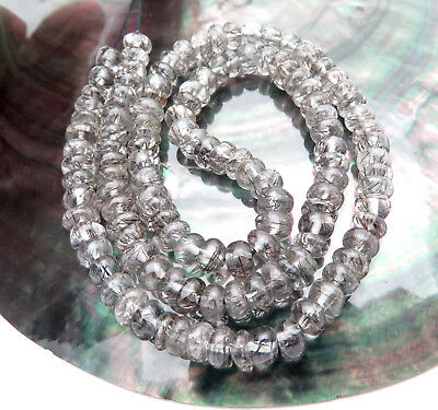 "124 Beautiful Aaaa+ Brazil Black Tourmaline In Clear Quartz Beads 14"" Strand"