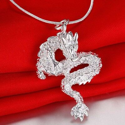 """925 Sterling Silver Womens Mens Dragon Pendant 24""""Snake Link Chain Necklace D277"""
