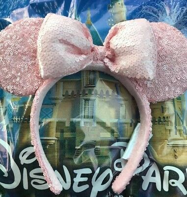 Disney Millenial Pink Sequined Minnie Mickey Ears Mouse Ears Headband Rose NEW