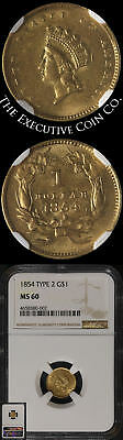 1854 Type 2 Indian Princess Gold $1 NGC MS60 Nice Luster Nice Strike