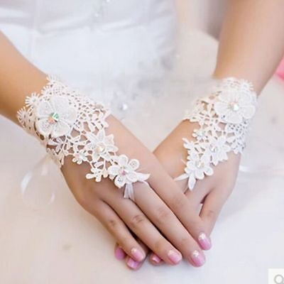 Guantes Bride Beading Ivory Bridal Accessories Lace Fingerless Wedding Gloves