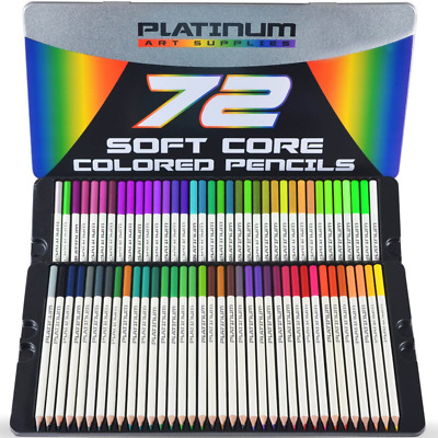 Platinum Pencils Soft Core Colored Pencils with Tin Case Pack of 72