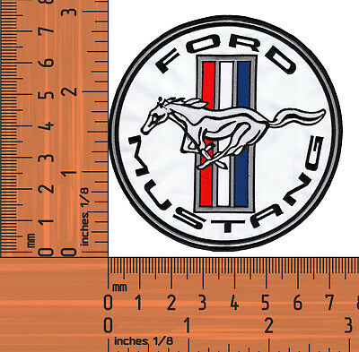 White Ford Mustang.Round Embroidered Badge / Cloth Patch Iron or Sew on