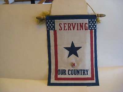 Original WWII US Son in Service Window Flag Blue Star Mother w/Wood Hanging Pole