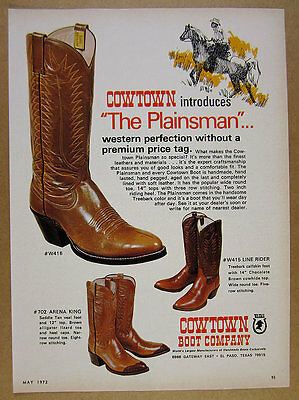 1972 Cowtown Cowboy Western Boots 3 models illustrated vintage print Ad