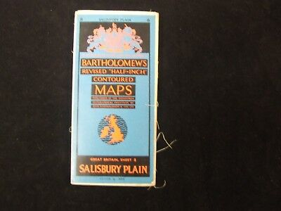 Salisbury 8 Bartholomew's Half Inch Contoured Map On Cloth Vintage