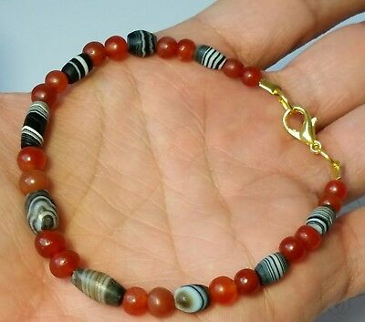 A Beautiful Bracelet Of Ancient Banded Suleimani Agate & Round Carnelian Beads