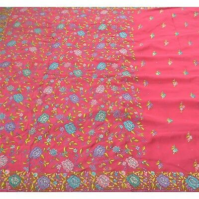 Sanskriti Vintage Antique Saree 100% Pure Crepe Silk Hand Embroidery Fabric Prem