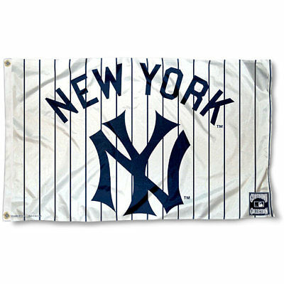 New York Yankees Flag 3'X5' Mlb Pinstriped Banner: Fast Free Shipping