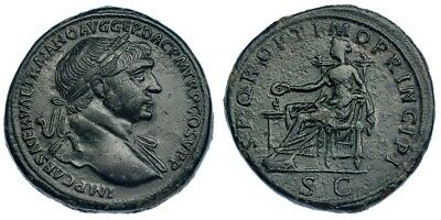 16. Trajan 112-114 AD Sestertius 23.36g 30mm RIC 515 Roman imperial coin