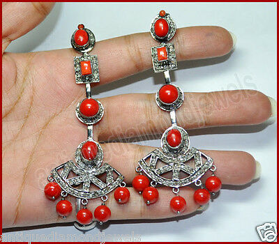3.04ct ROSE CUT DIAMOND  RED CORAL VICTORIAN REPRODUCTION SILVER DANGLE EARRING