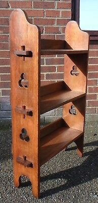 Victorian antique Arts Crafts Liberty style oak gothic open library bookcase