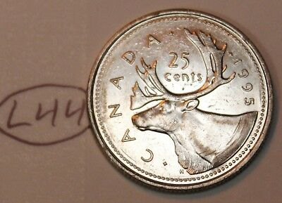 Canada 1995 25 cents Canadian Caribou Quarter Coin Lot #L44