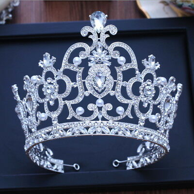 14cm High Super Large White Crystal Crown Tiara Wedding Prom Party Pageant