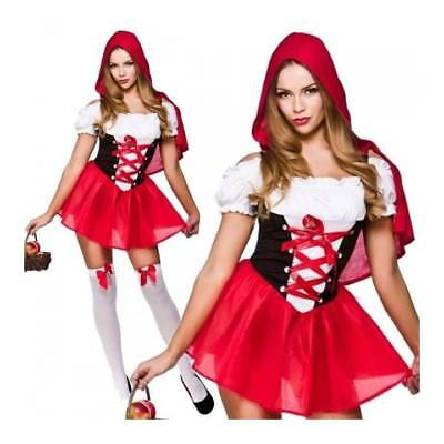 *Reduced* Ladies Short Red Riding Hood Dress Fairytale Fancy Dress Costume XS