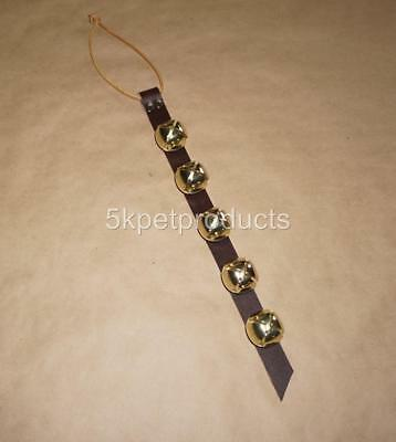 "Arctic Sleigh Bells 15"" Leather Door Hanger Strap 5 Bells"