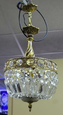 Ornate Brass & Crystal French Style Baguette Chandelier