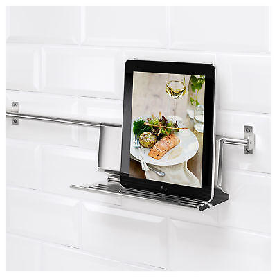 IKEA KUNGSFORS Stainless Steel Hanging Kitchen Tablet Stand (26x12cm)