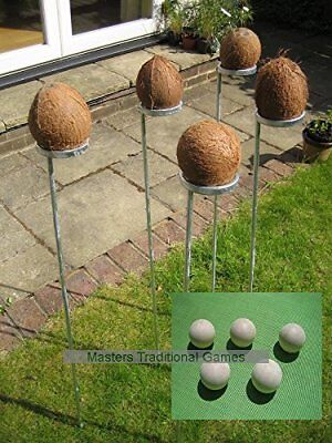 Standard Coconut Shy bundle. 5 coconut shy posts and 15 wooden balls
