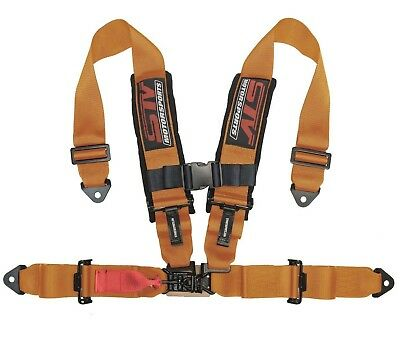 STV Motorsports Racing Seat Belt Harness Orange 4-Point 2Inch Polaris RZR XP1000