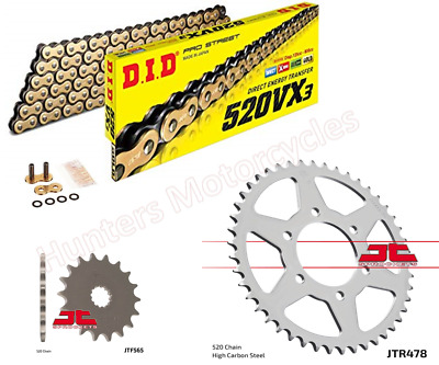 Kawasaki ER6 F & N Models DID Gold X-Ring Chain & JT Sprockets Kit Set