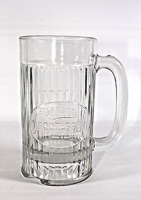 """1920's Howel's Root Beer Embossed Thick Glass Mug Stein 6"""" Tall"""