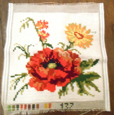 Finished Tapestry Cross Stitch Panel Cushion Poppy Flower Picture Red Wild Cream