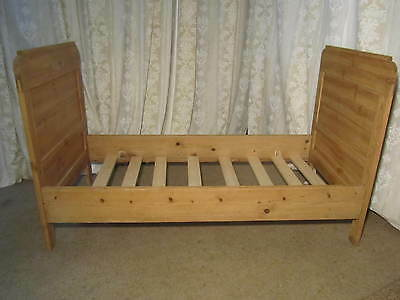 French Pine Single Sleigh Bed Lit Bateau