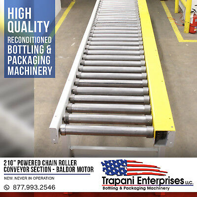 """*NEW* 210"""" Powered Chain Roller Conveyor Section, Baldor 3/4HP 3 Phase,Packaging"""
