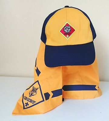Boy Scout Of America Wolf Twill Blue Gold Hat Cap and Neckerchief